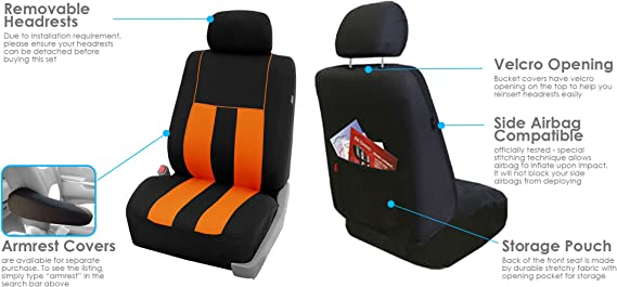 FH Group FB036ORANGE115 Seat Cover Airbag Compatible and Split Bench Orange