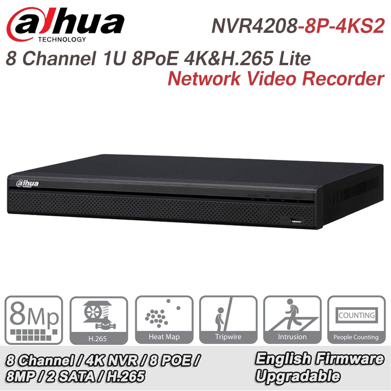 Dahua 8 Channel NVR DHI-NVR4208-8P-4KS2 1U 8PoE 4K H.265 Lite Network Video Recorder Original English Version