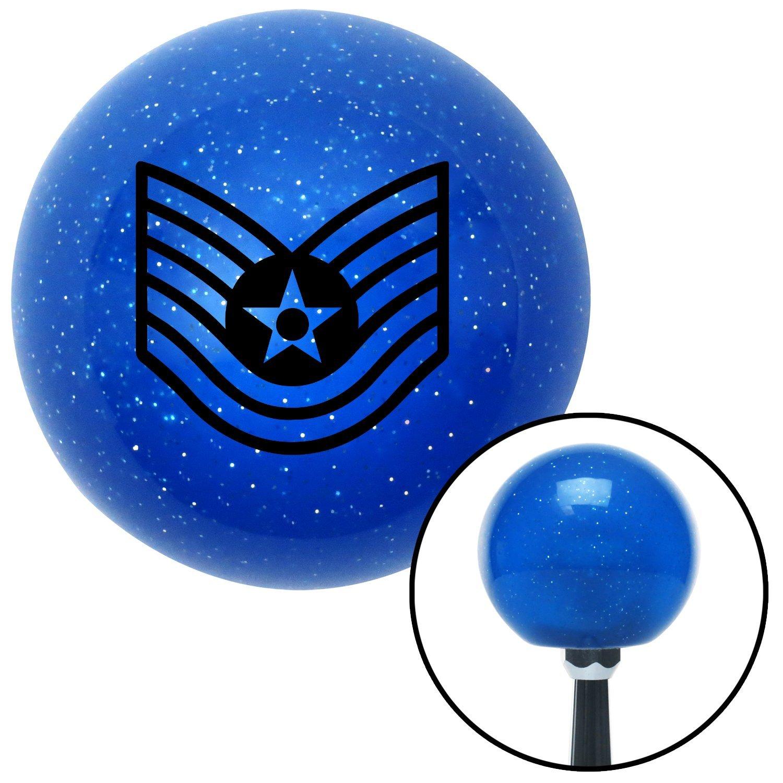 Black Technical Sergeant American Shifter 24484 Blue Metal Flake Shift Knob