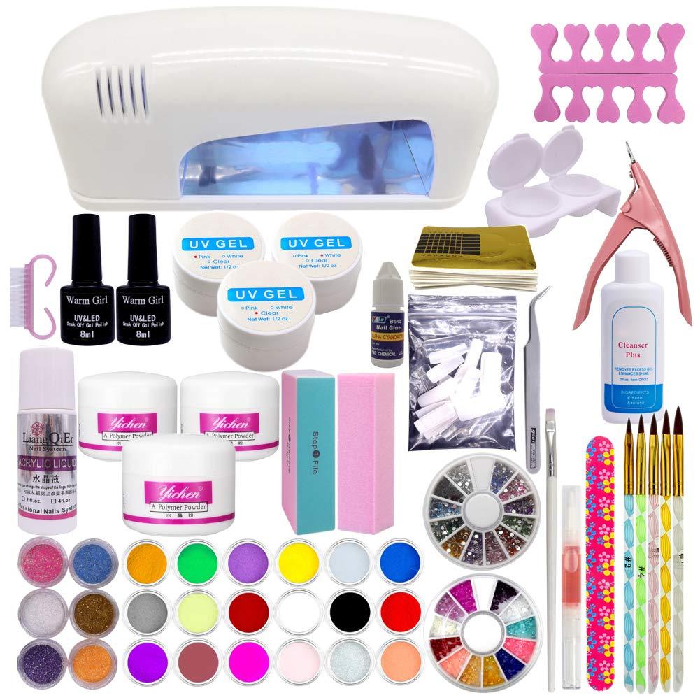 Warm Girl Full UV Nail Acrylic Nail Art Kits 25W Pink UV Lamp 25 Color  Acrylic Powder Rhinestones UV Gel Nail Art Set