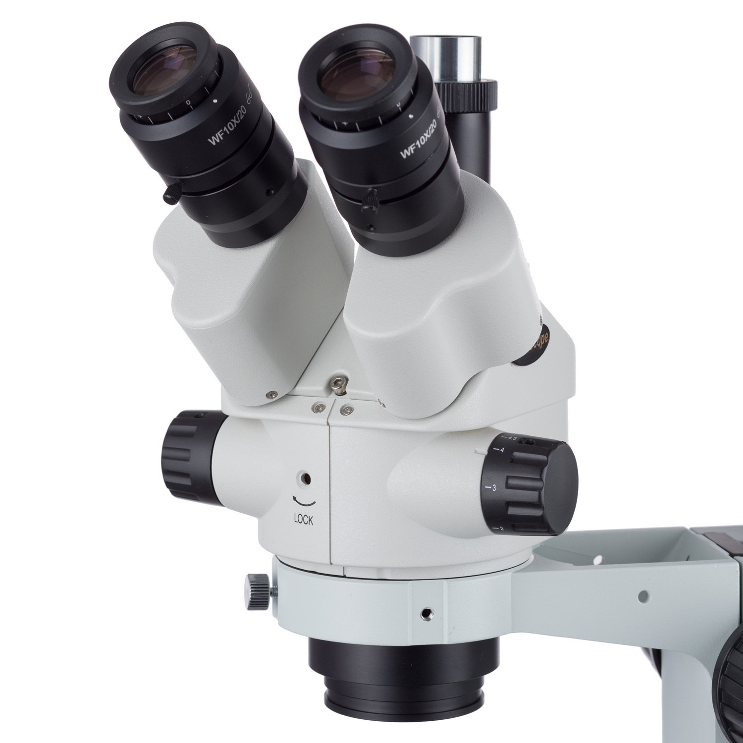 AmScope 7X-45X Simul-Focal Stereo Lockable Zoom Microscope on Dual Arm Boom Stand by AmScope (Image #2)