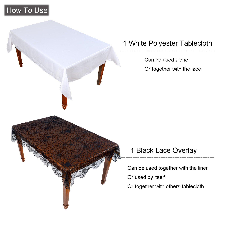 Amazon Black Lace Tablecloth Set 2 Pieces Spider Web Gothic