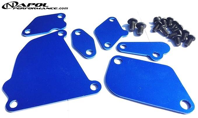1987 - 1991 mazda RX7 RX-7 FC3S Turbo FC EGR Kit de borrar bloque Off platos JDM usdm- Custom azul bloque de egr Off Kit de placa con tornillos: Amazon.es: ...