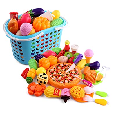 Alimentos de Juguetes, iVansa 40 piezas Juguetes Cortar Frutas Verduras Pizza Juego de Plástico La cocina juguete para Niños: Juguetes y juegos