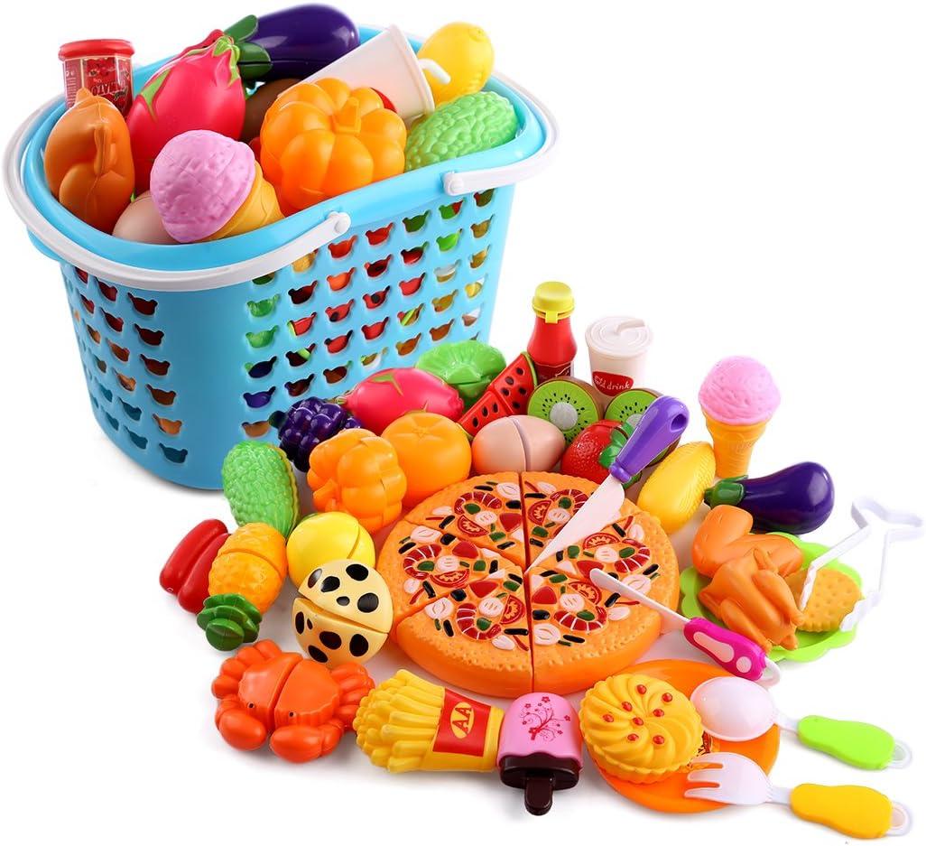 WEIZQ Alimentos de Juguetes, 40 Piezas Alimentos de Juguete Cortar Frutas Verduras Temprano Desarrollo Educación Bebé Niños Juegos