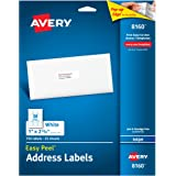"""Avery Easy Peel Address Labels for Inkjet Printers 1"""" x 2-5/8"""", Pack of 750 (8160)"""