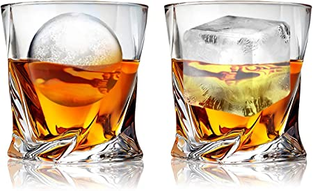 Lawei - Juego de 6 vasos de whisky de cristal para beber bourbon coñac irlandés, whisky de cristal – 300 ml
