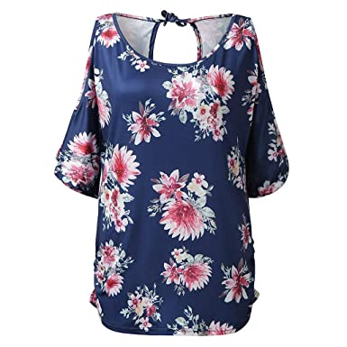 21752b1c86e45 Infidev Women Summer Floral Print Cold Shoulder Short Sleeve Casual ...