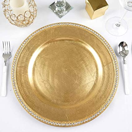 Efavormart 13u0026quot; Round Gold Crystal Beaded Acrylic Charger Plates Party  Dinner Servers Dinner Chargers For