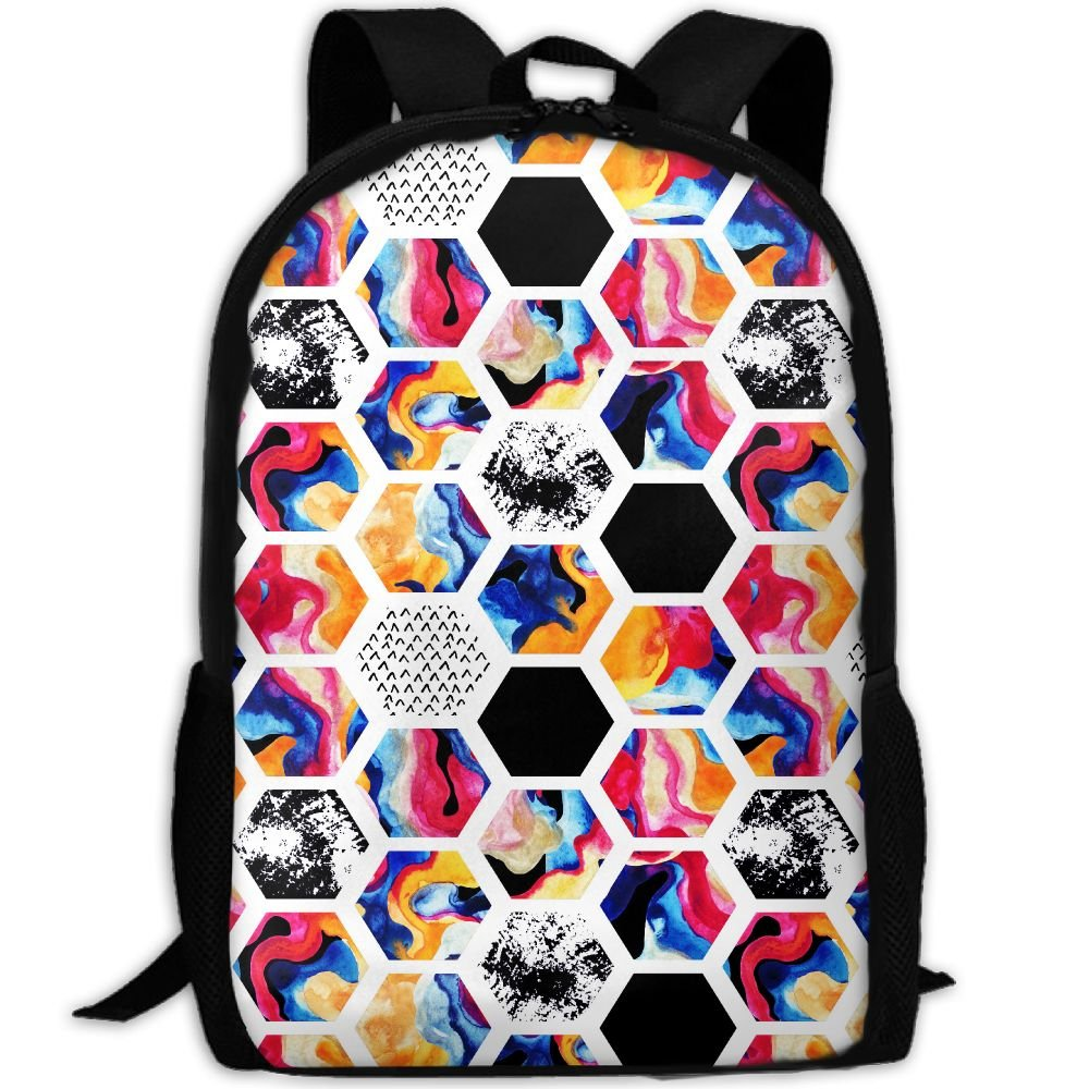 OIlXKV Abstract Colorful Geometric Print Custom Casual School Bag Backpack Multipurpose Travel Daypack For Adult