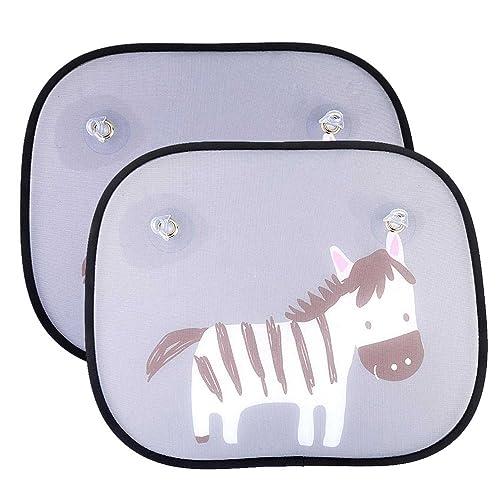 IntiPal 2pcs Car Window Sun Shades - Universal Baby Car Sunshades - Blocks Harmful UV Rays Sun Glare Heat - Protection for Your Kids, Pets (Zebra)