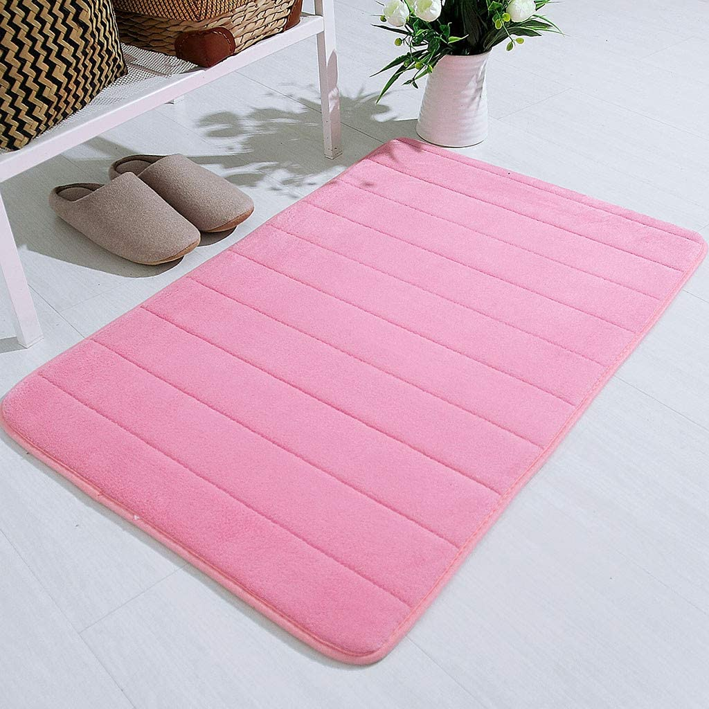 Unbekannt Sunday Badezimmer Waschbar Badematte Memory Foam Badteppich Saugf/ähige Badvorleger rutschfest Pink, 40x60cm