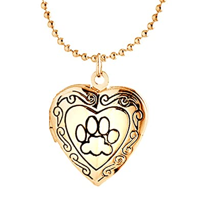 necklace pawprint print animal pendant rose gold puppy tracks make bling dog paw oa lockets plated jewelry