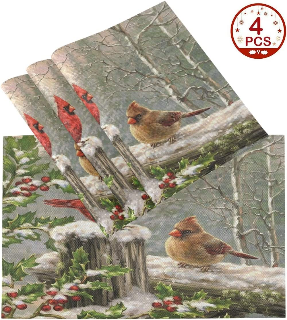 Wamika Winter Cardinal Birds Placemats Set of 1 Holly Berry Snow Table Mats Burlap Placemat Christmas Decorations Washable Non-Slip Heat Resistant Place Mats for Party Kitchen Dining 12 X 18 in
