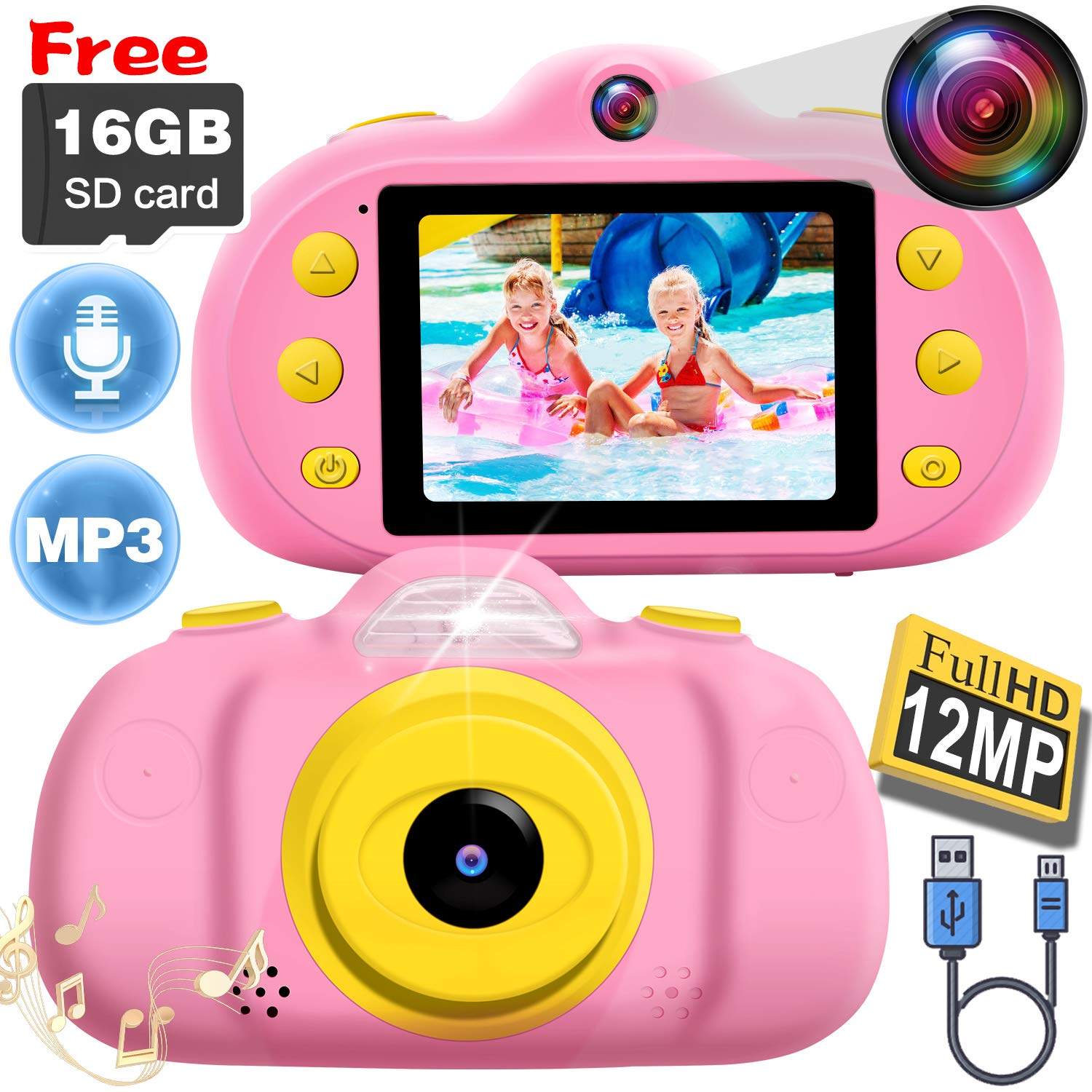 [NEW]2.4'' Kids Camera 12MP Kid Gift Toy DUAL Lens Camera 3-10 Years Girl boy HD 1080P Selfie Camera Mini Child Digital Camcorder with Puzzle Game,MP3 Kid Outdoor Camera Birthday Gift[Free 16G SD Card] by Camlinbo (Image #1)