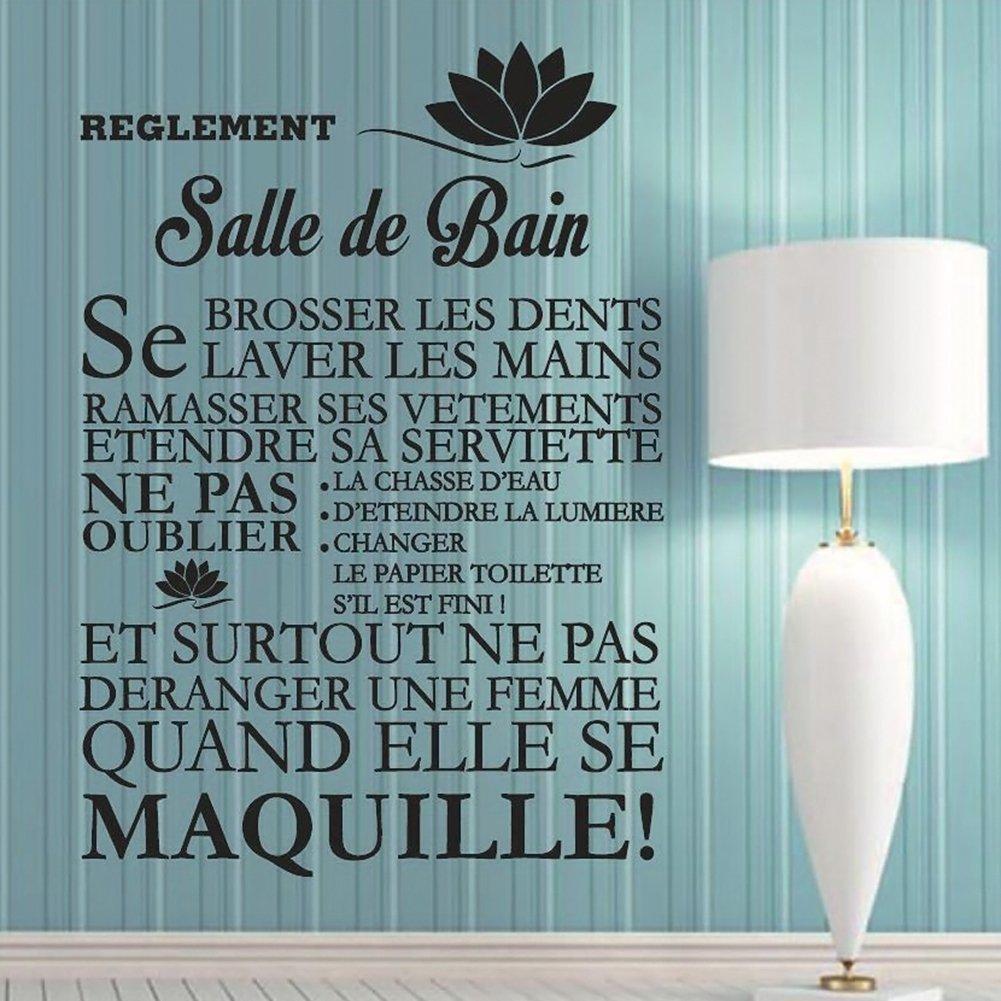 Idee Deco Salle De Bain Pas Cher ~ Amazon Com Rosesummer Diy Salle De Bain Quote Bathroom Removable