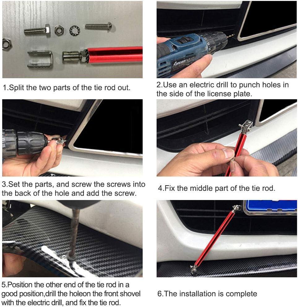"CARKIO 2PCS Adjust Red Bumper Lip Splitter Strut Rod Tie Support Bars Replacement fit for Universal 5.9/"""