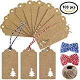 Supla 100pcs Kraft Paper Gift Tags Paper Cut Christmas Hang Tags Hollow Christmas Tree Design and 3 styles Crafts Twines