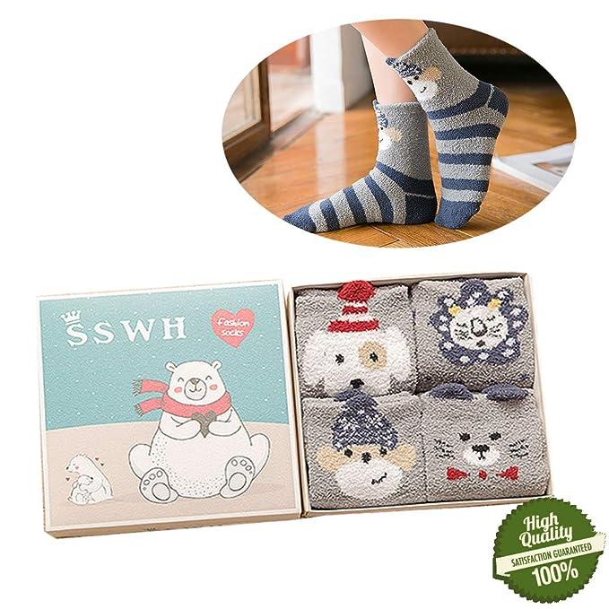 Morbuy Mujer Calcetines de Navidad, Set de Calcetín de 4 pares Caja De Regalo Para