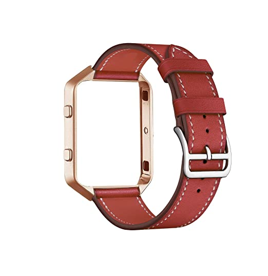 Cailin Compatible for Fitbit Blaze Bands with Frame,Genuine Leather Band with Metal Frame for Fit bit Blaze Smartwatch (red, M)