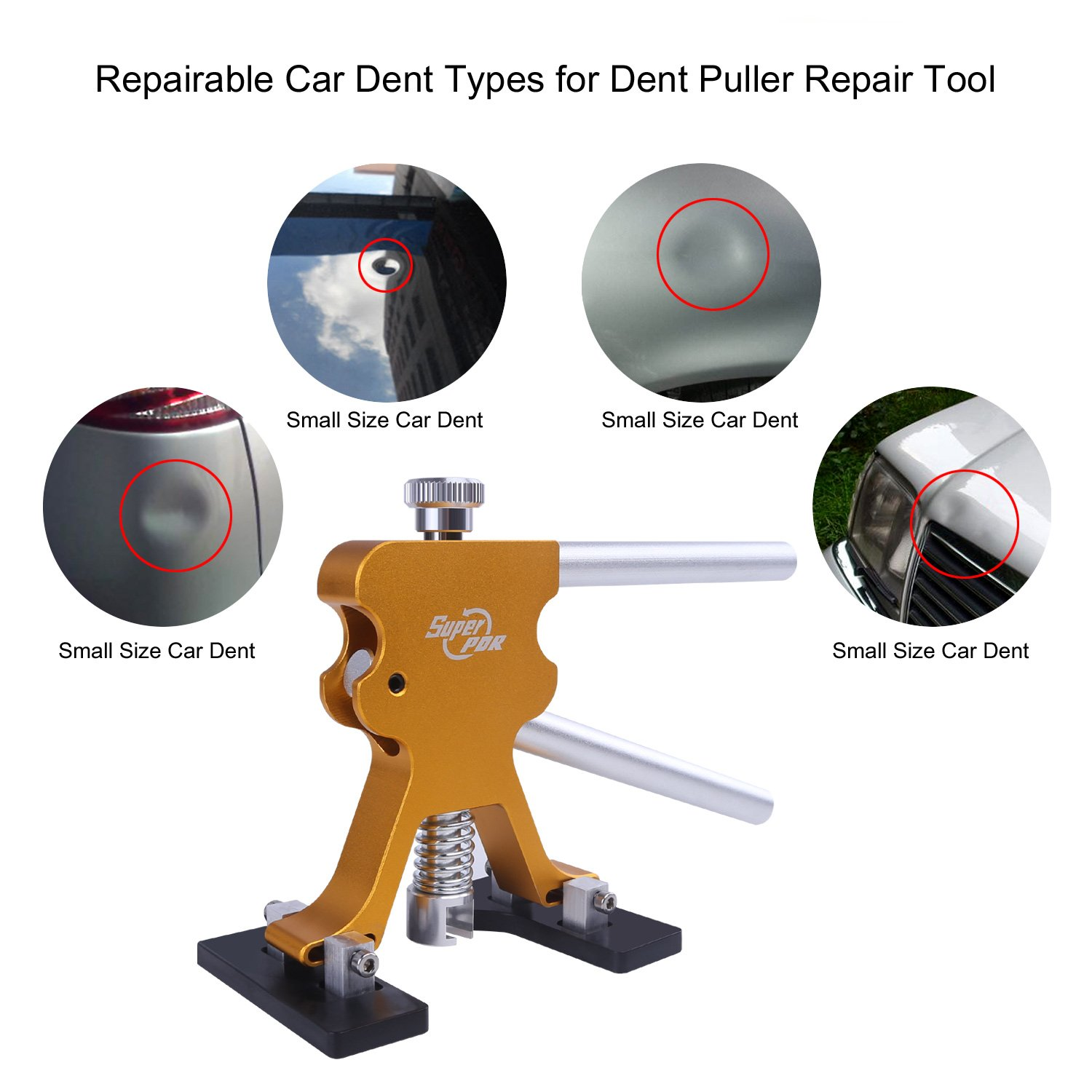 Super PDR 68pcs Auto Body Paintless Dent Removal Repair Tools Kits Dent Lifter Slide Hammer Pro Tabs Tap Down LED Reflector Board with Tool Bag by Super PDR (Image #4)
