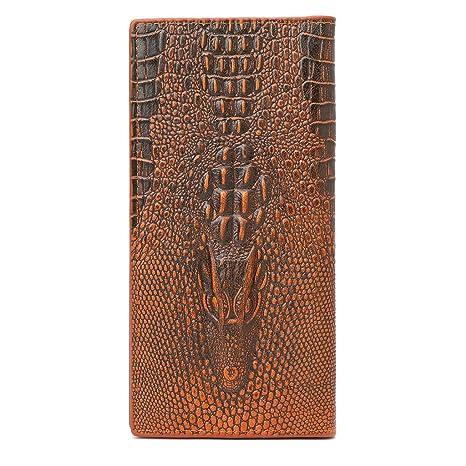 JAGENIE - Cartera para Hombre con diseño de cocodrilo 3D, Piel sintética, marrón Claro