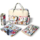 Kamay's Multifunctional Deluxe Large Light Weight Double-Sided Waterproof Mummy Changing Bag Set With Thermal Insulation Bottle Bag,Thick Changing Mat And Double Zipper Diaper Bag (Animal Pattern)
