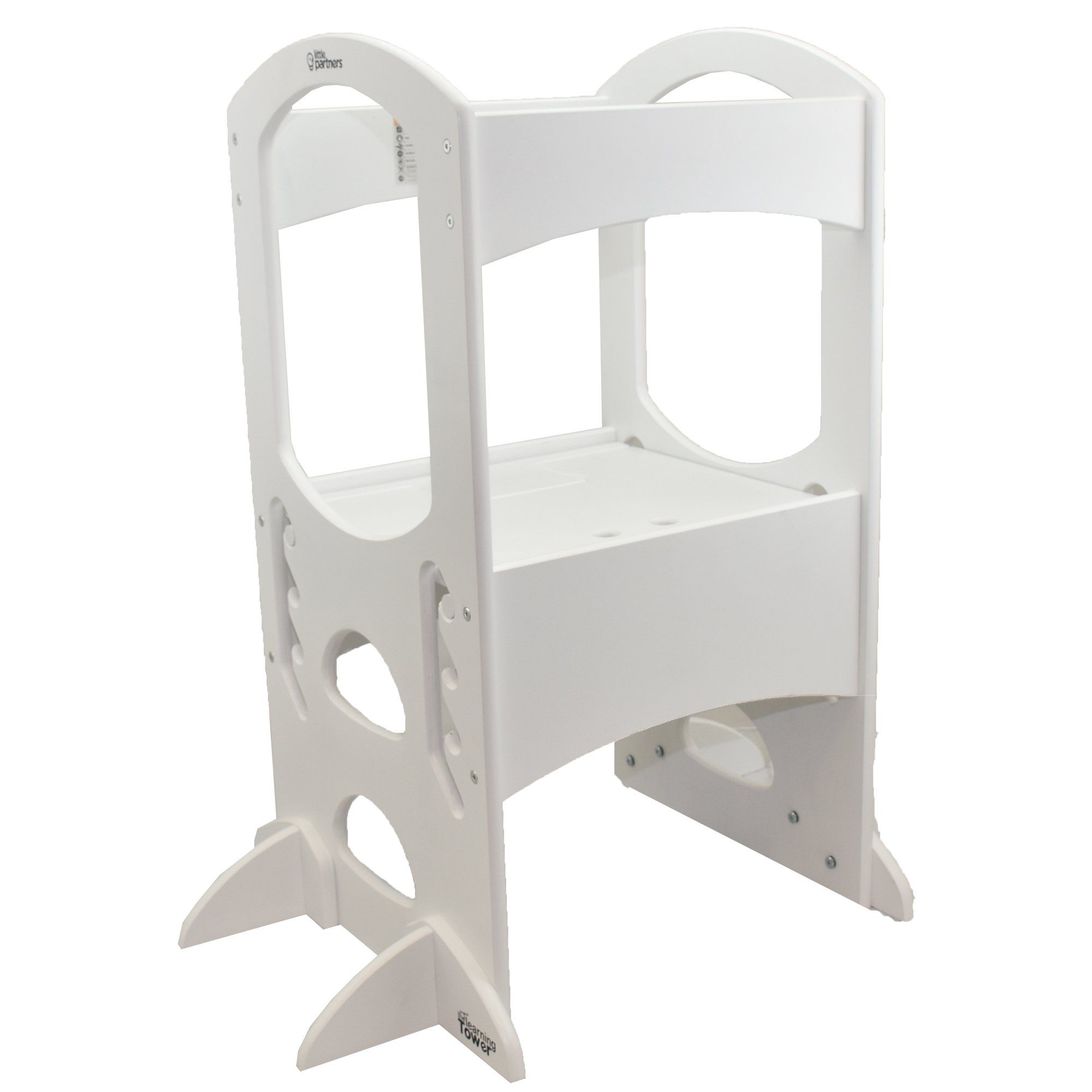 Little Partners' Kids Learning Tower - Child Kitchen Helper Adjustable Height Step Stool, Wooden Frame, Counter Step-Up Active Standing Tower (Soft White) by Little Partners