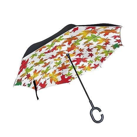 ISAOA Paraguas grande a prueba de viento doble capa plegable para el uso del automóvil un