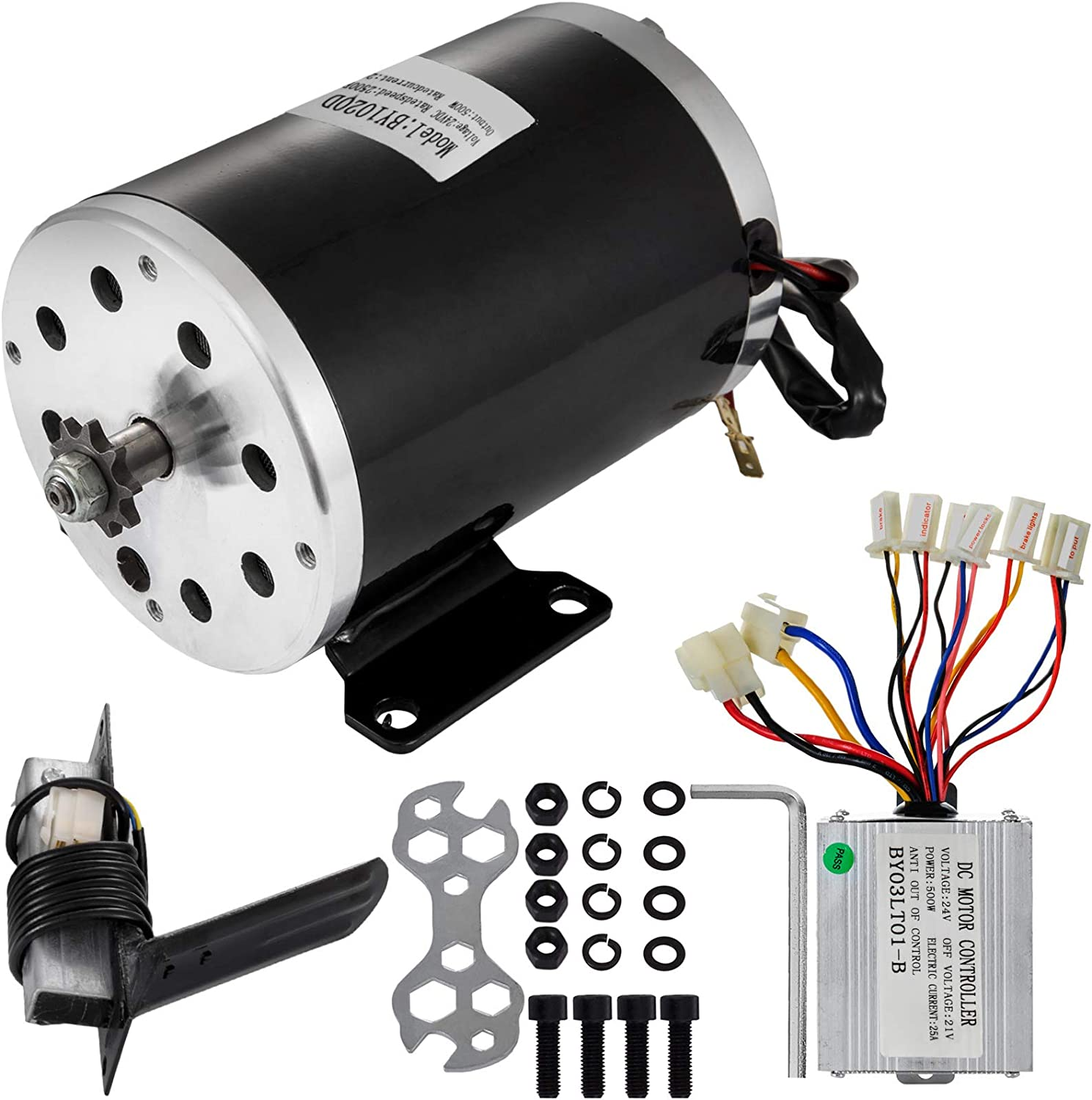 Mophorn Electric Brushed Motor 24V DC 500 Watt with Controller & Pedal 11Tooth 25Chain Sprocket and Mounting Bracket for Go Karts Scooters & E-Bike