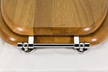 wooden toilet seat hinges. Cavalier Solid Wood oak Toilet Seat with chrome bar hinge  k12010