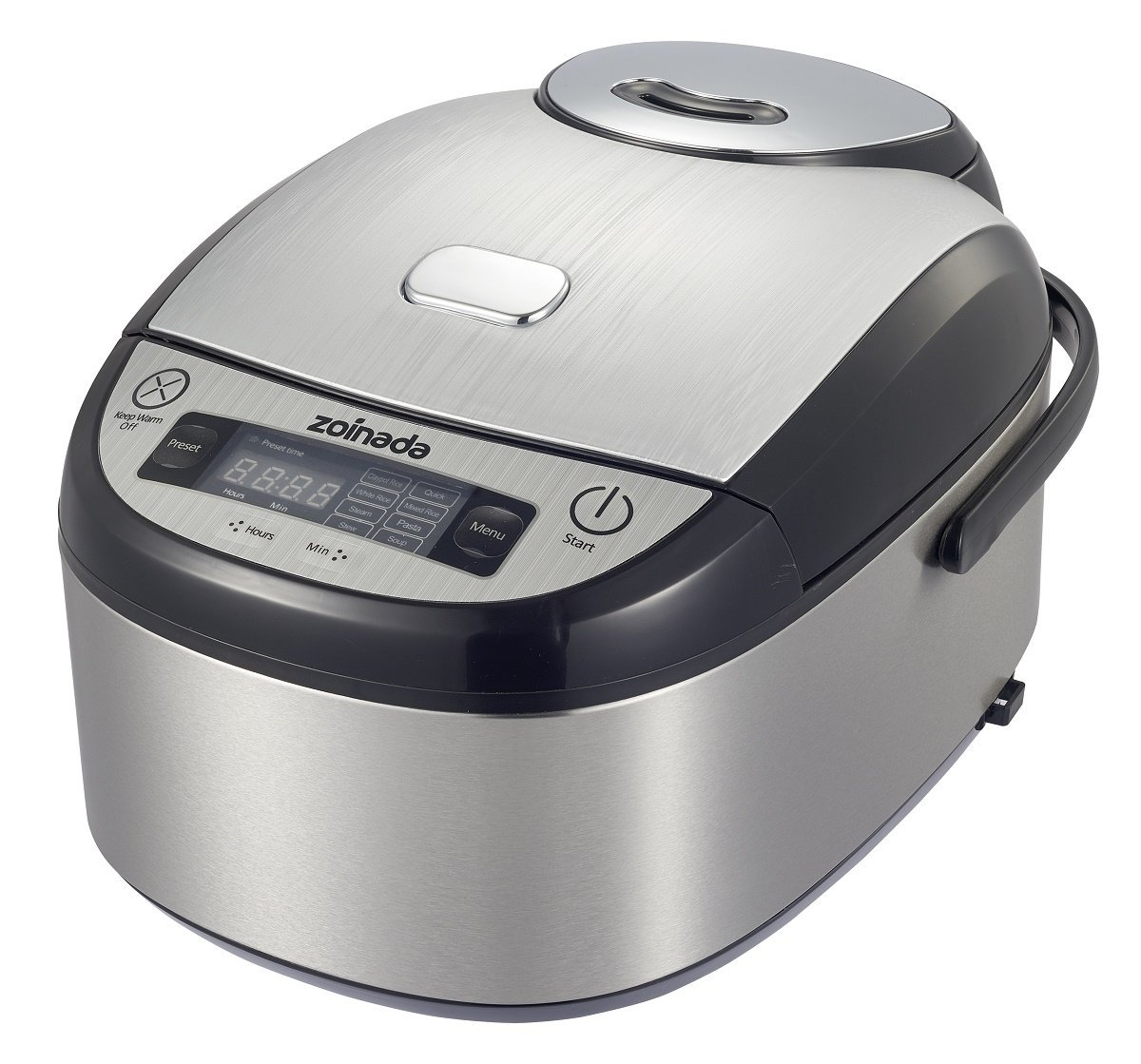 Rice Cooker 401BC-1 8 Cups(uncooked) 8-in-1 Programmable Multi Cooker,Slow cooker,Food Steamer, 24 Hours Preset, with Cooking Recipe,Stainless Steel,Silver and Black