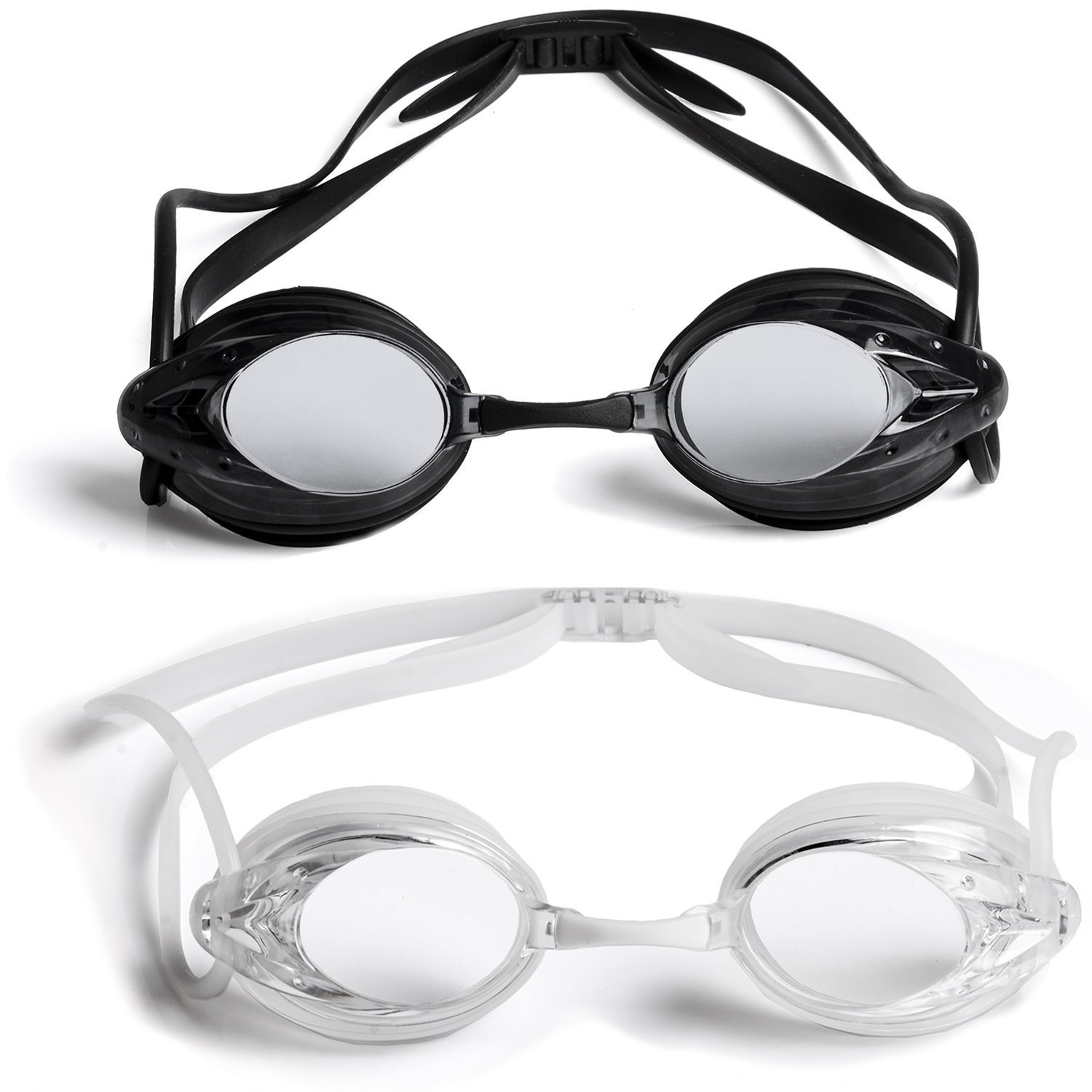 eceda94cd073 The Friendly Swede 2 Pack Swim Goggles for Adults with Interchangeable Nose  Pieces and Protective Cases
