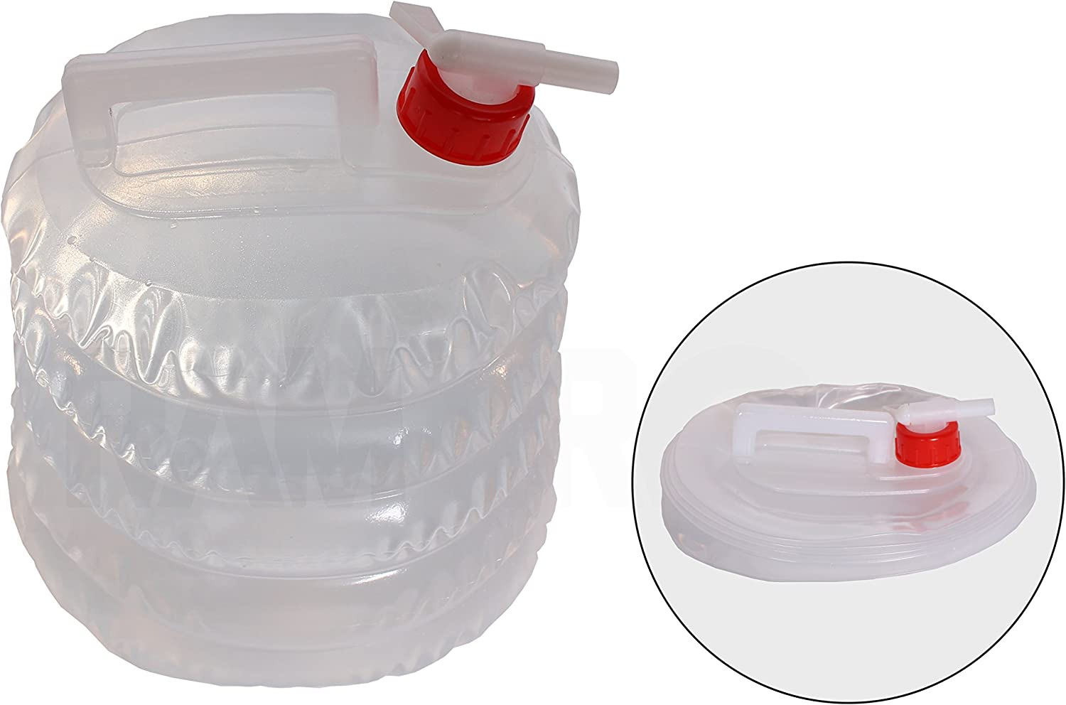 Collapsible Water Jug ( 5 Quarts / 1.25ガロン)キャンプ、ハイキング、ハンティング、釣り、登山、緊急災害キット& – Water Shut注ぎ口