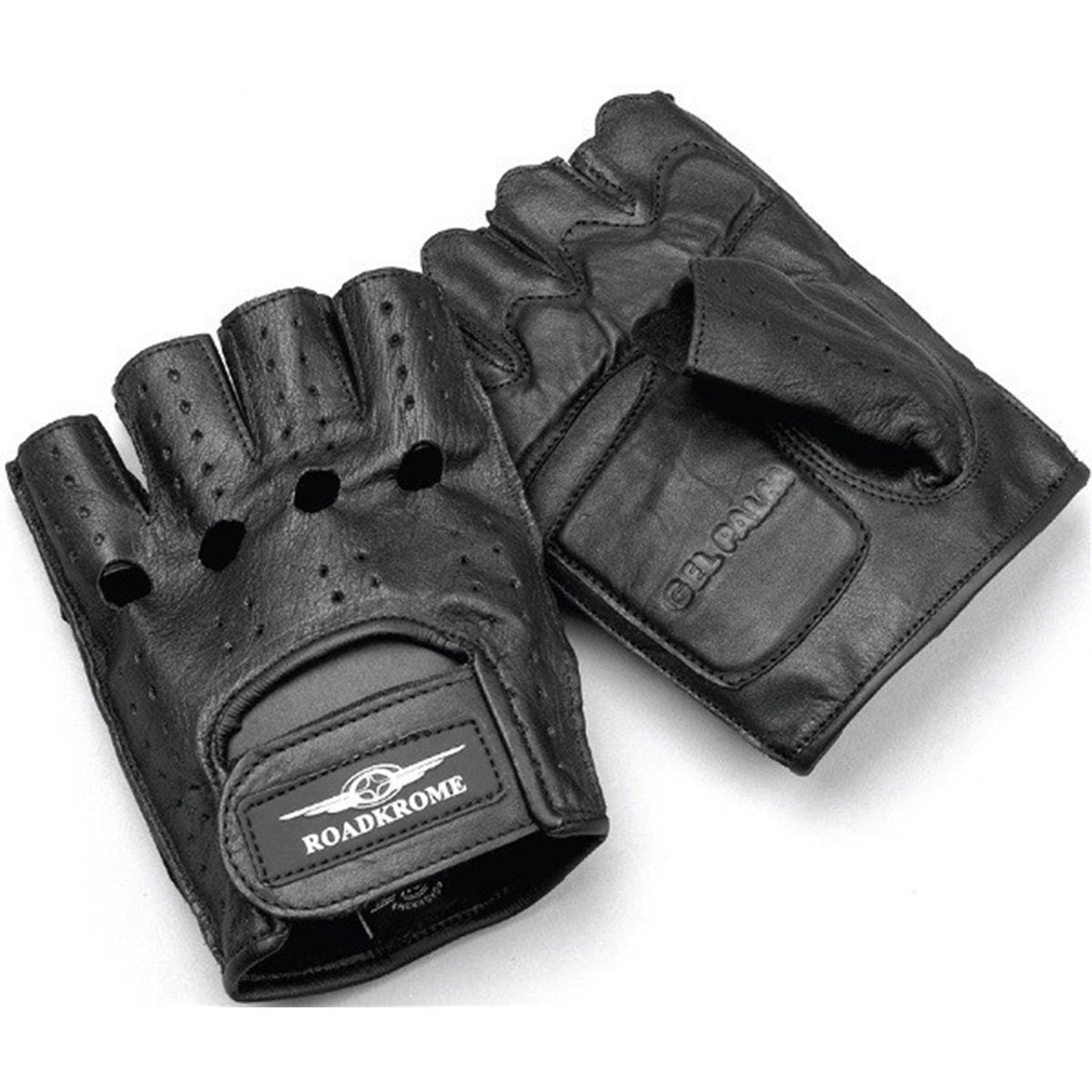 Roadkrome Chopper Deluxe Adult Leather Motorcycle Gloves Black//Large 29-004