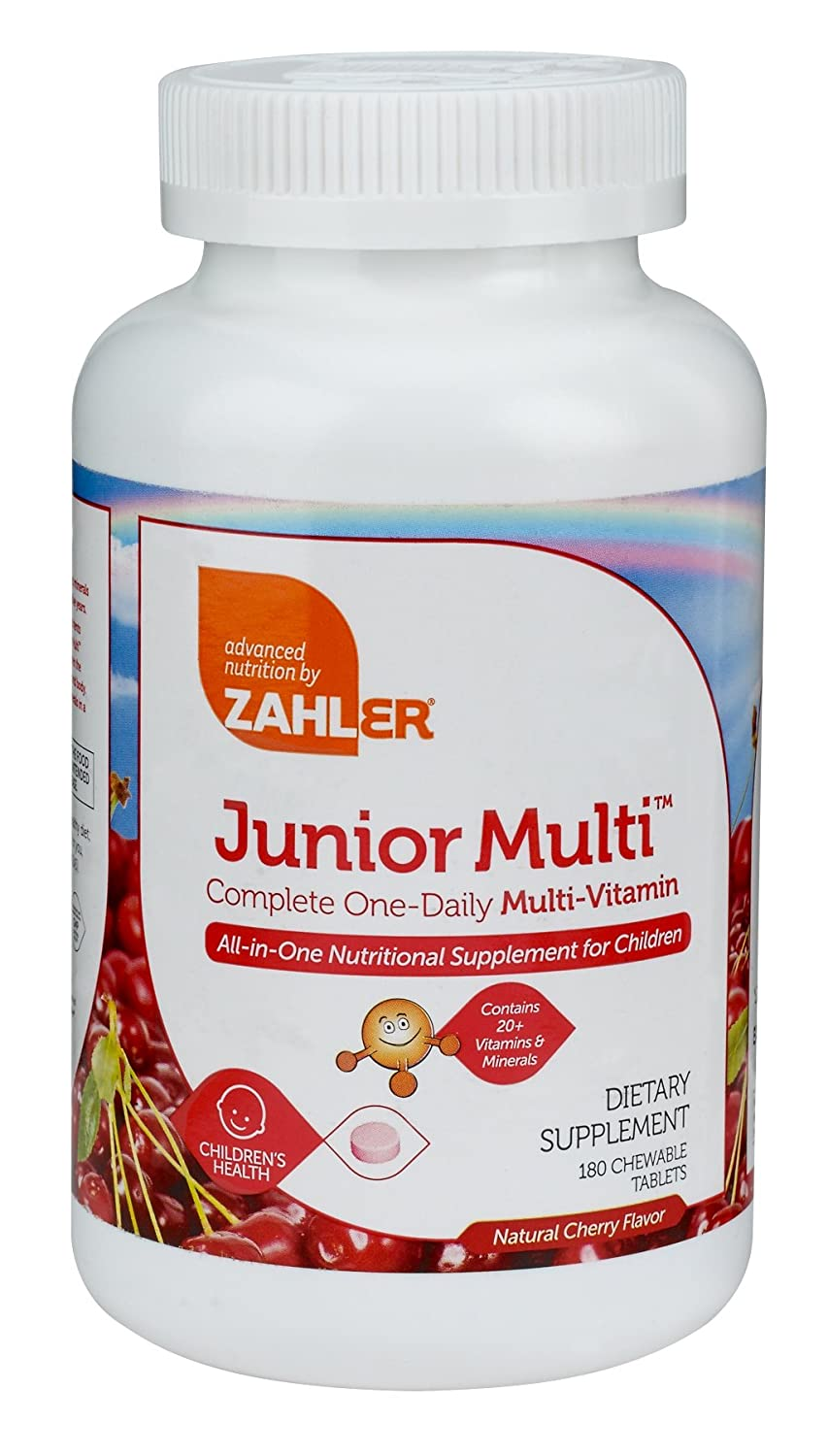 Zahler Junior Multi, Chewable Multivitamin for Kids, Great Tasting Kids Mutlivitamin, Childrens Cherry Chewable Tablets, All Natural Color and Flavor, 180 Chewable Tablets