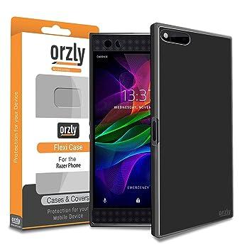 Orzly Funda Razer Phone, FlexiCase para el Teléfono Móvil Modelo Razer Smartphone 2017 - Funda Protectora de Gel Flexible - Negro