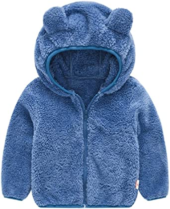 Toddler Girls Boys Fleece Hoody Jacket Zip Up Teddy Coat Warm Winter Outwear