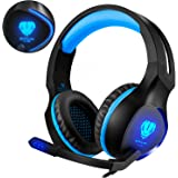 for PS4 Headset, Gaming Headset with Mic for PS4 PC /LED Light / One Key Mic Mute/ Soft Memory Earmuffs 3.5mm Wired Over-ear Headphones for PS 4, XBOX One, Nintendo Switch, PC, Laptops (Blue)