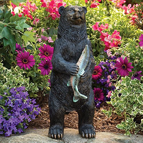 Bits and Pieces - Bear Motion Sensor Statue - Weather Resistant, Hand-painted Polyresin Sculpture - Garden - Hand Decorations Polyresin Painted