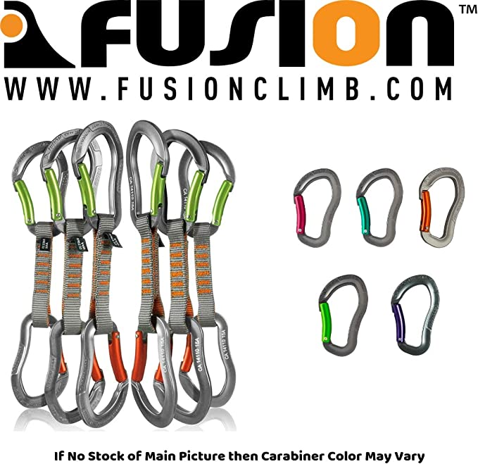 Fusion Climb 6-Pack 11cm Quickdraw Set with Techno Wave Burgundy Screw Gate Carabiner//Techno Zoom Gray Wire Gate Carabiner