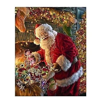 Amazon.com: Haotfire Santa Claus Canvas Print Lighted Picture of ...