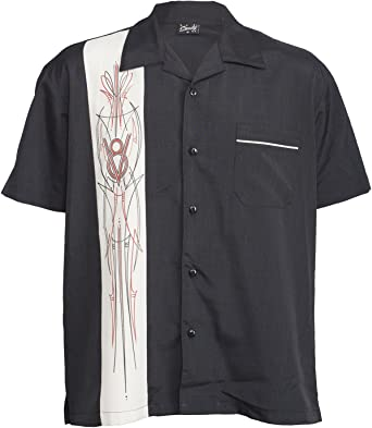 Rock Steady V8 Pinstripe Panel Hot Rod Button Up Bowling Camisa Negro XL: Amazon.es: Ropa y accesorios