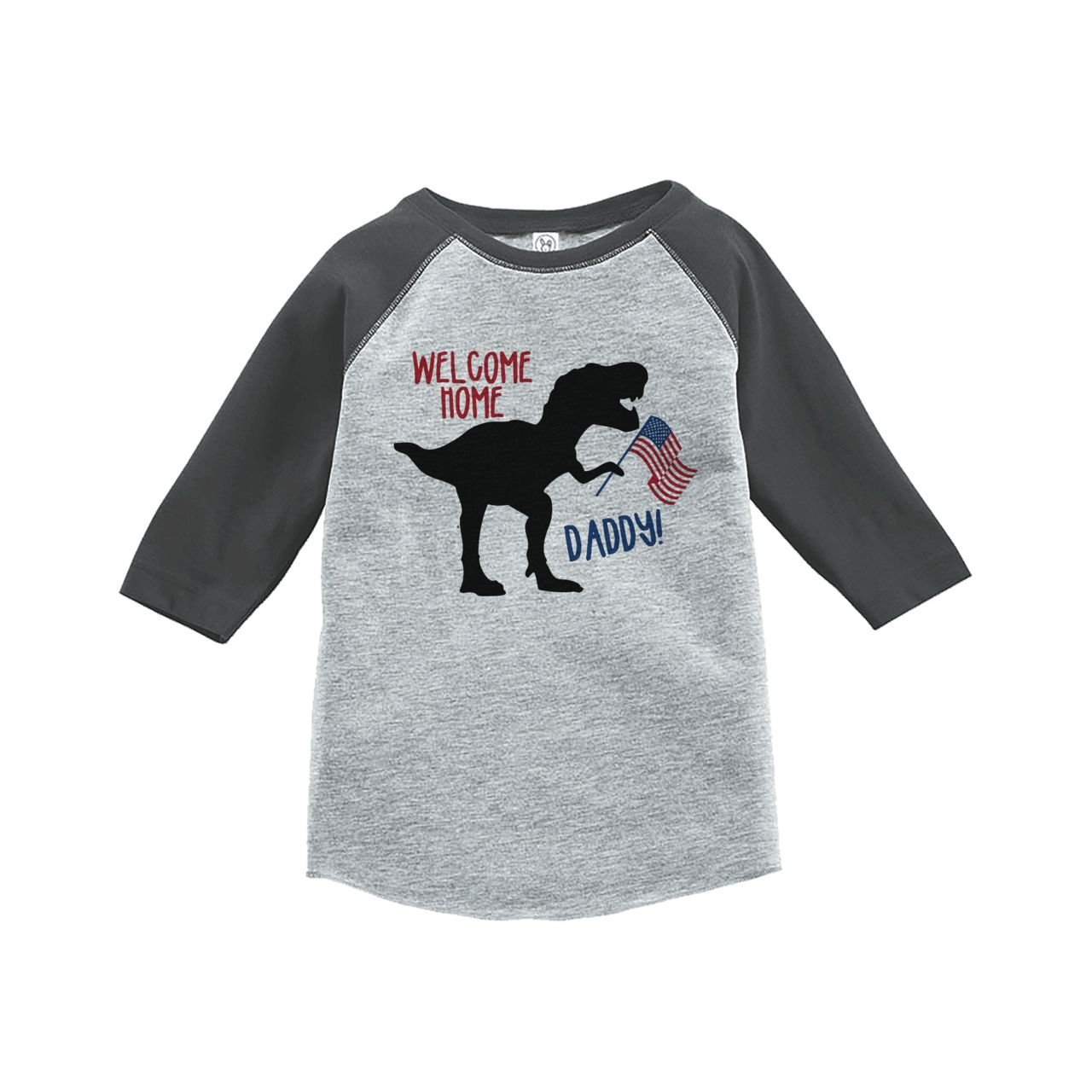 Custom Party Shop Kids Dinosaur 4th of July Grey Baseball Tee 2T
