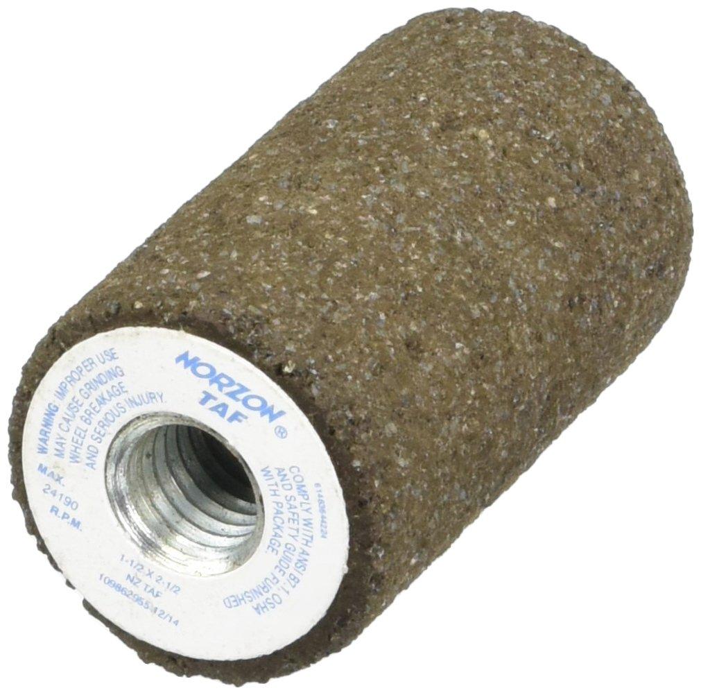 Norton NorZon TAF Snagging Abrasive Plug, Type 18, Square Tip, Zirconia Alumina, 5/8''-11 Arbor, 1-1/2'' Diameter x 2-1/2'' Thickness (Pack of 10)