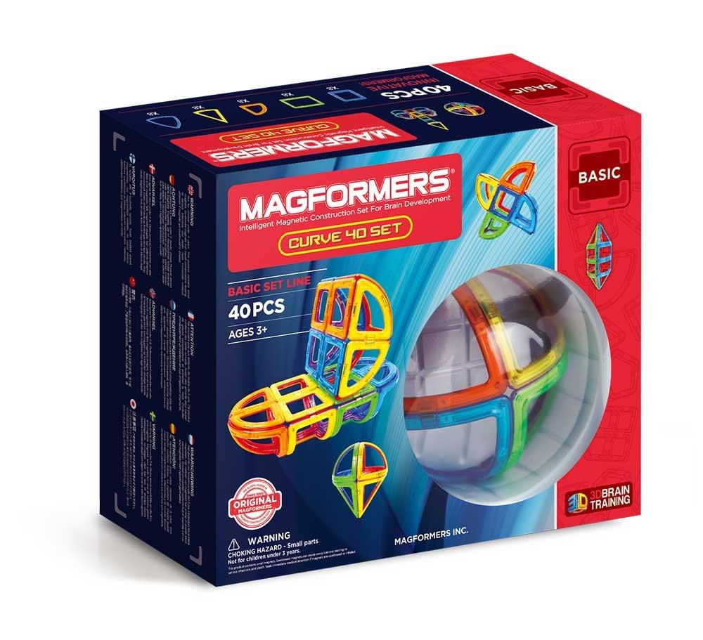 Magformers Curve (40 Piece) Set Magnetic Building Blocks, Educational Magnetic Tiles Kit , Magnetic Construction STEM Toy Set