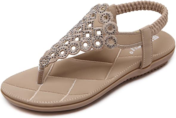 Brieten Womens Sequins Comfort Slide Sandals Slippers Flat Beach Sandals