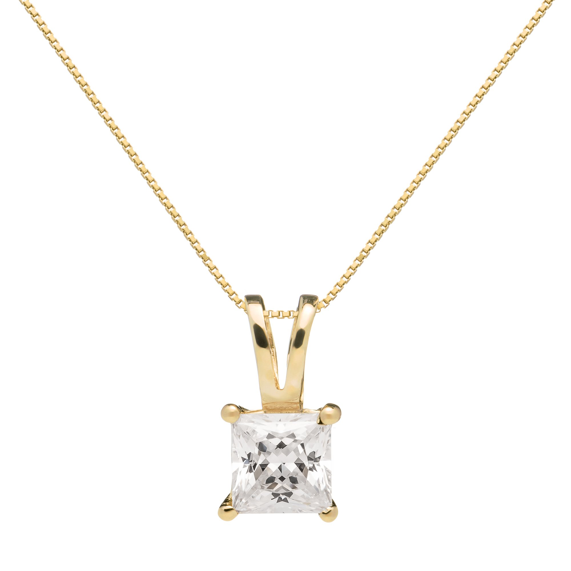 14K Solid Yellow Gold Princess Cut Cubic Zirconia Solitaire Pendant Necklace (1 carat), 18 inch Box Link Chain, Gift Box