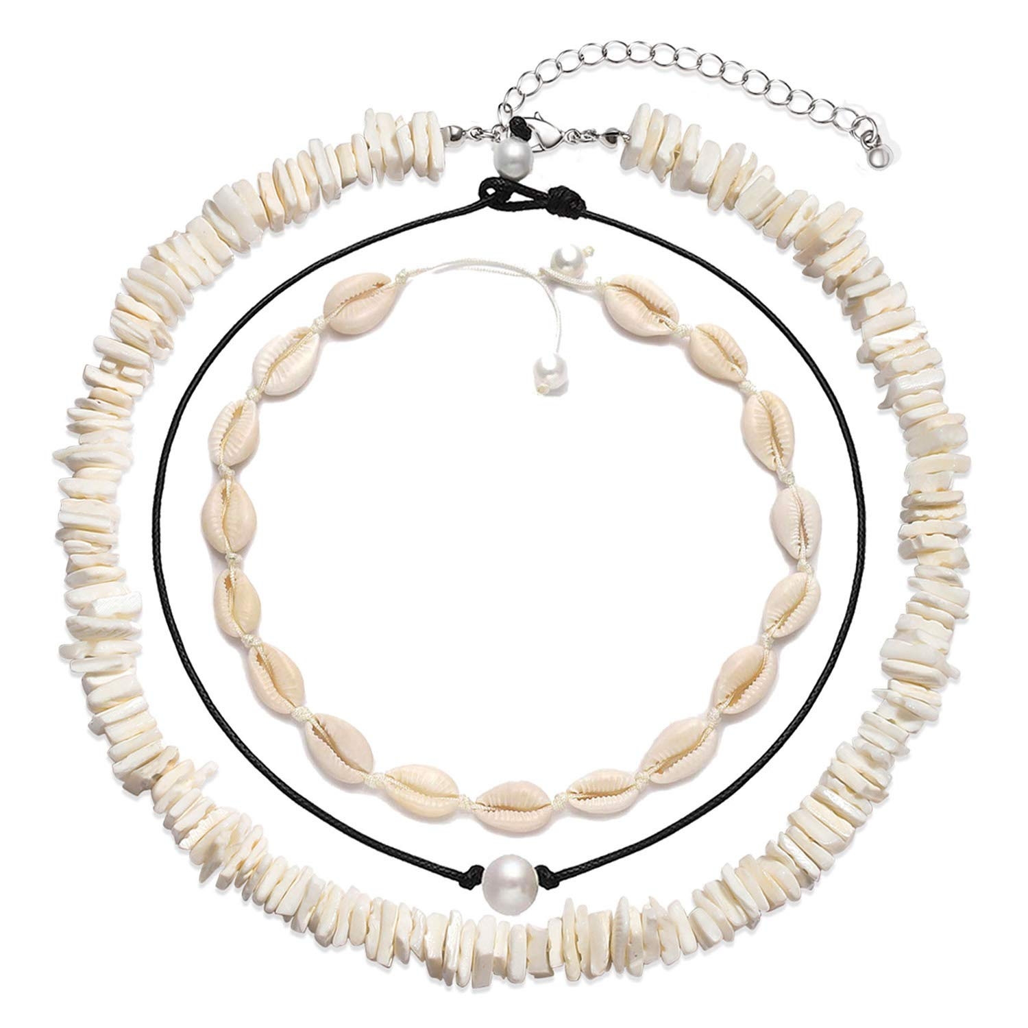 Puka Shell Choker Necklace Sea Shell Necklace Anklets Set Summer Beach Jewelry