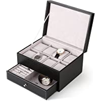 Amzdeal orologio display Storage box custodia in pelle sintetica con custodia